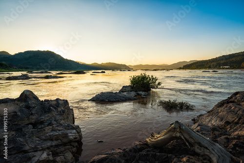 Deurstickers Grijs Sunset at the river landscape