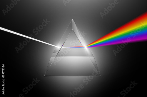 Fotografía Visible light dispersion to a spectrum on a glass prism, realistic physical effe