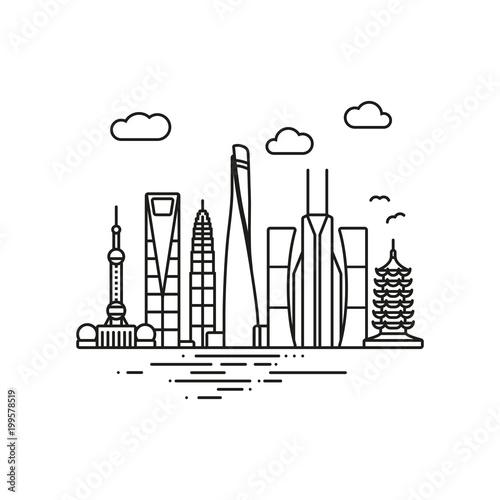 Photo Shanghai Cityscape line icon style vector illustration