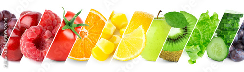 Autocollant pour porte Fruit Collage of color fruits and vegetables