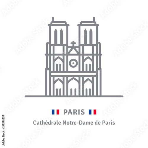 Fotografia  Paris icon with Notre-Dame cathedral and French flag