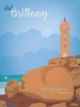 Visit Brittany Vintage Style Tourism Poster With Mean Ruz Lighthouse At Ploumanach