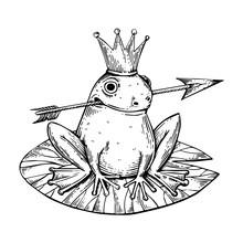 Princess Frog Engraving Vector