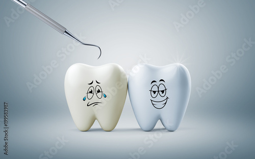 Teeth smile and crying emotion with dental plaque tool, Concept Dental care cleaning bacterial plaque on white background. 3d render
