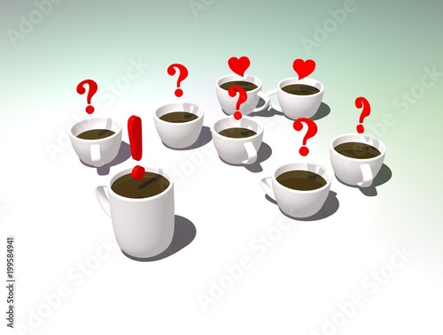 Cups of tea 3D illustration  Office tea party  Discussion or