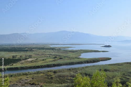 In de dag Khaki Lake.Landscape.Koydcegiz.Mugla.Turkey