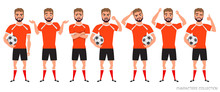 Footballer Character Constructor. Soccer Player Different Postures, Emotions Set