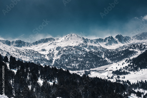 Majestic snowy and rocky mountains
