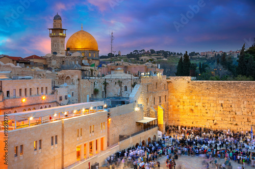 Poster Middle East Jerusalem. Cityscape image of Jerusalem, Israel with Dome of the Rock and Western Wall at sunset.