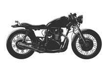 Vector Engraved Style Illustration For Posters, Decoration And Print. Hand Drawn Sketch Of Motorcyrcle In Monochrome Isolated On White Background. Detailed Vintage Woodcut Style Drawing.
