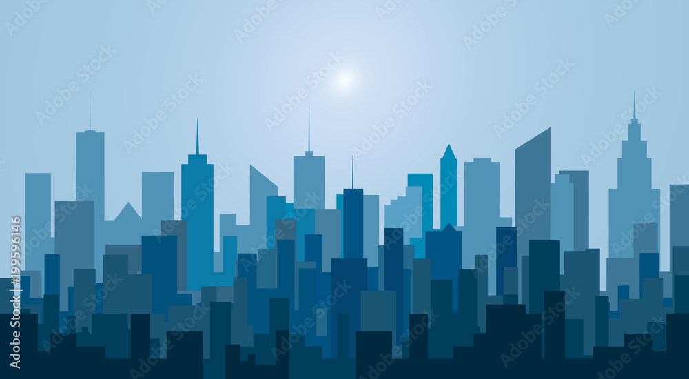 Fototapety, obrazy: new blue city towers