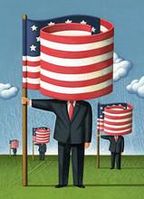 Illustration Depicting US President Holding Flag