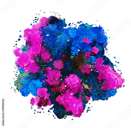 Foto op Canvas Bloemen Abstract watercolor texture, bionic form, dynamic color blue, red, purple and green. Big size. For the background. Isolated on white background.