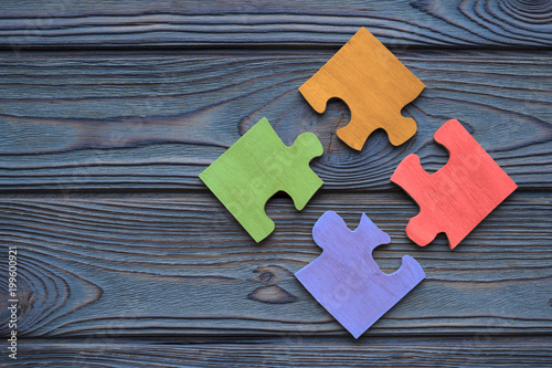Fényképezés The four parts of the color puzzle are assembled into one