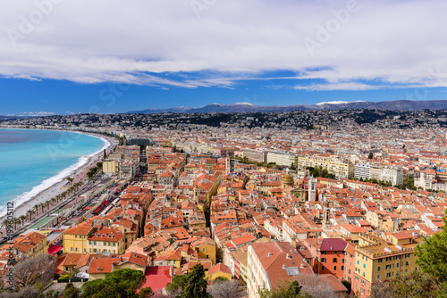 Spoed Foto op Canvas Nice Cote d'Azur, France. Beautiful panoramic aerial view city of Nice, France. Luxury resort of French riviera. Front view of the Mediterranean sea, bay of Angels