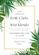 Wedding Floral Invitation, Invite Card With Vector Watercolor Style Tropical Fan Palm Tree Green Leaves, Exotic Forest Greenery Herbs & Elegant Golden Frame. Luxury ,botanical, Woodsy Template Design