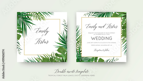 Foto  Wedding floral double invite card design with vector watercolor style tropical fan palm tree green leaves, exotic forest greenery herbs & elegant golden frame