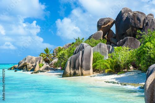 Fotografie, Obraz Source d'Argent Beach at island La Digue, Seychelles - Beautifully shaped granit