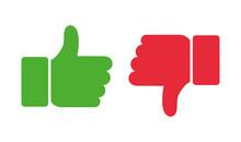 Thumb Up And Thumb Down. Vector Illustration