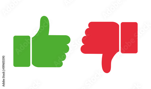 Thumb up and thumb down. Vector illustration