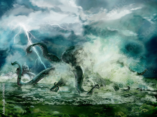 Fotografía  Illustration of a Kraken or giant octopus in the storm, spindrift near seashore