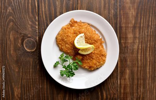 Chicken schnitzel , top view