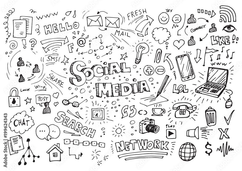 Fototapeta Social media hand drawn doodles