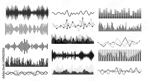 Photo  Set of Music sound waves