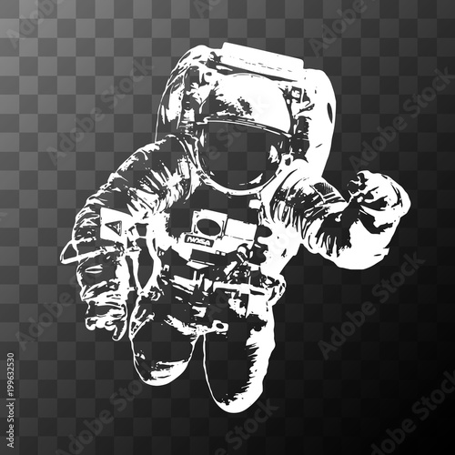 Fotografia, Obraz Astronaut on transparent background - Elements of this Image Furnished by NASA