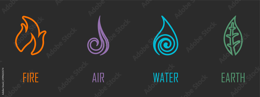 Fototapeta Abstract Four Elements (Fire, Air, Water, Earth) Line Symbols