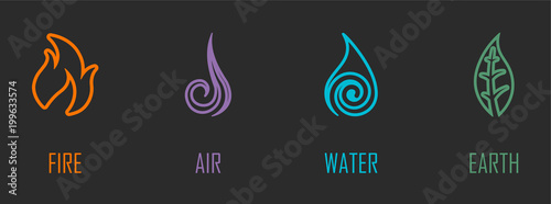 Fototapeta Abstract Four Elements (Fire, Air, Water, Earth) Line Symbols obraz