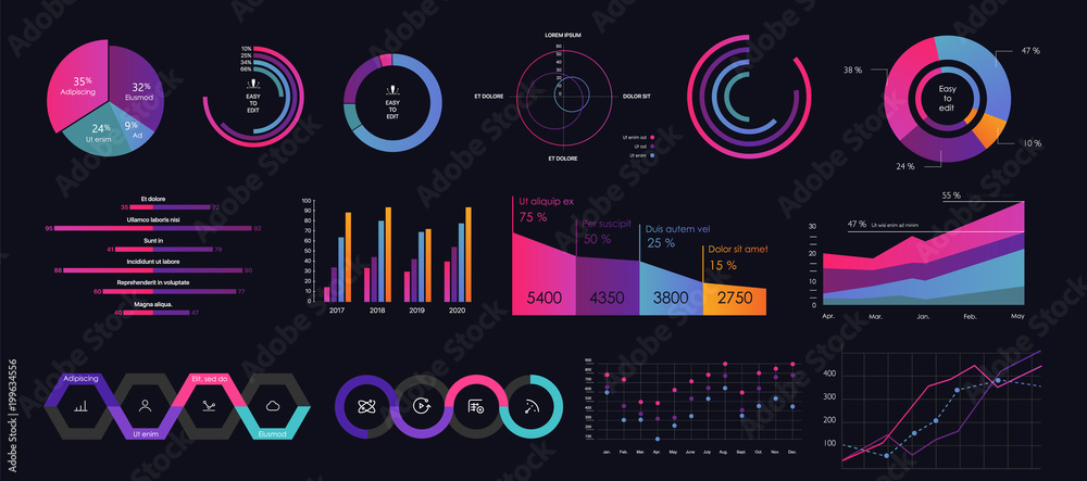 Fototapety, obrazy: Interface screen with colored infographic digital illustration.
