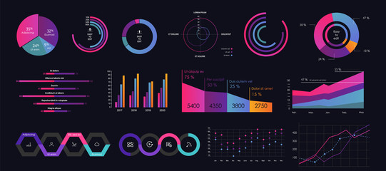 Interface screen with colored infographic digital illustration.