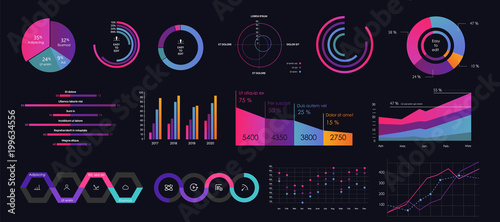 Photo  Interface screen with colored infographic digital illustration.
