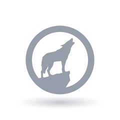 Wolf howl silhouette icon in circle outline. Wild animal howling symbol. Vector illustration.