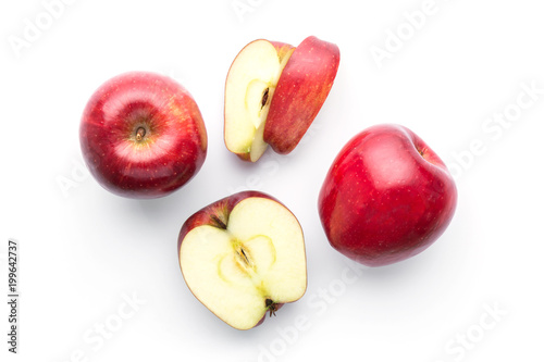 red apples isolated on white in top view