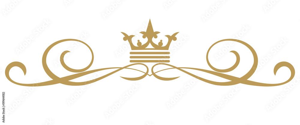 Fototapeta Design elements isolated on white background, royal style, vintage, vector