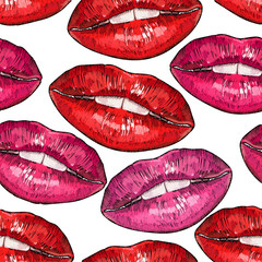 Embroidery lips. Cosmetics and makeup seamless pattern. Sweet kiss fashion art. Sexy wet lip make-up pattern. Fashion template for clothes, textiles, t-shirt design