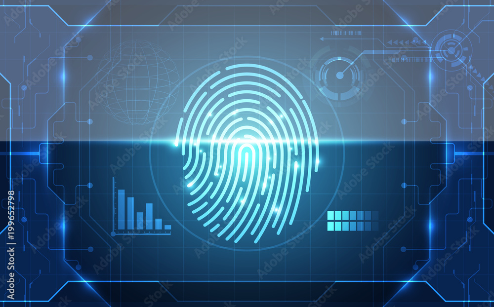 Fototapeta Fingerprint integrated in a printed circuit, releasing binary codes. finger print Scanning Identification System. Biometric Authorization and Business Security Concept. Vector illustration background