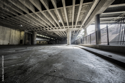 Canvas Prints Narrow alley Urban parking structure