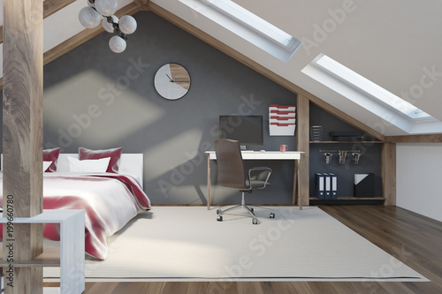 Papiers peints Montagne Stylish gray bedroom in the attic