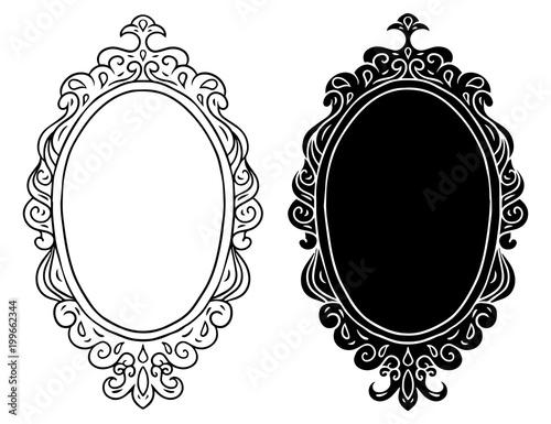 Hand drawn vintage black frames, mirrors set
