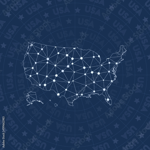 USA network, constellation style country map  Exotic space