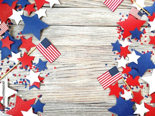 Canvas-taulu American independence Day, celebration, patriotism and holidays concept - flags