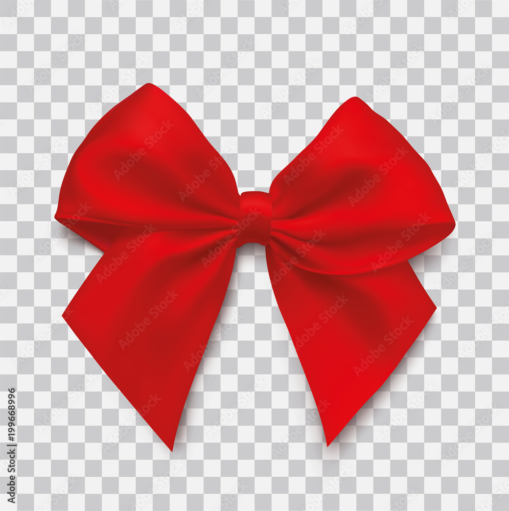 Fototapeta Realistic red bow on isolated background - stock vector.