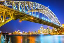 Night View Of Harbour Bridge In Sydney Australia