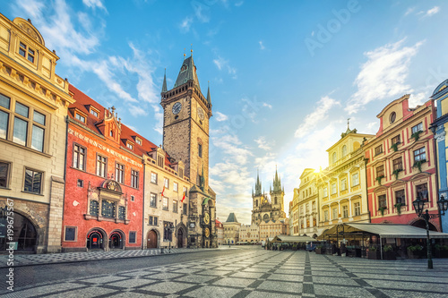 Photo sur Toile Prague Old Town Hall building with clock tower on Old Town square (Staromestske namesti) in the morning, Prague, Czech Republic