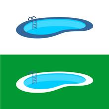 Swimming Pool Logo. Perspective Pool Illustration.