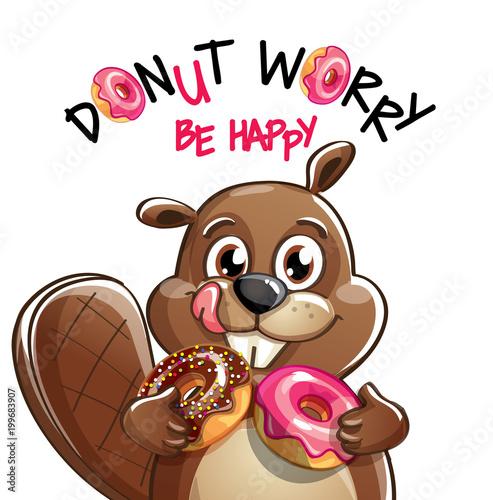 bajkowy-bobr-z-paczkami-i-napisem-donut-worry-be-happy