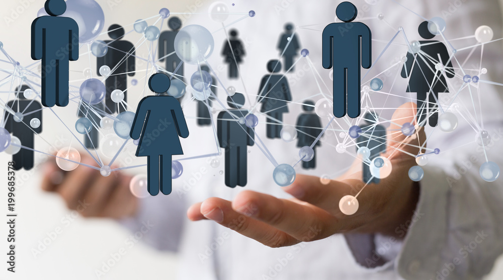 Fototapeta network -  Businessman holding 3D rendering group of blue people